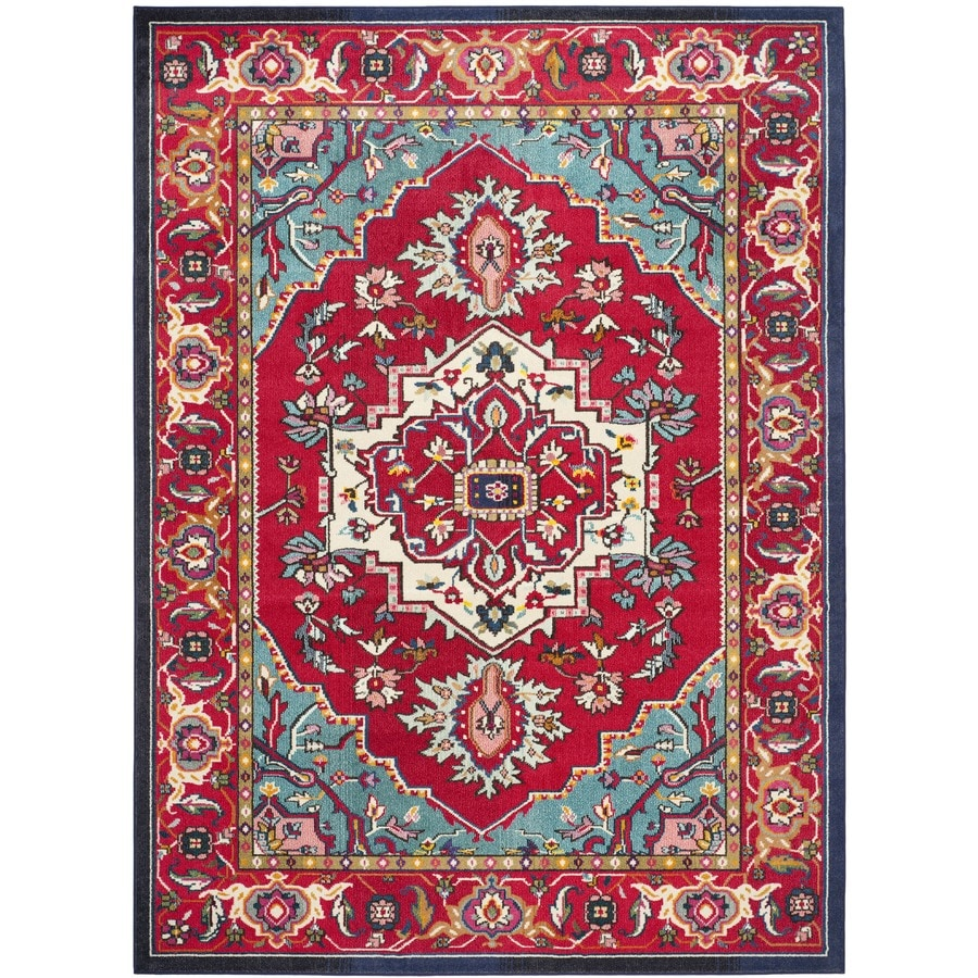 Safavieh Monaco Red/Turquoise Rectangular Indoor Machine-Made Oriental Area Rug (Common: 10 x 14; Actual: 10-ft W x 14-ft L x 0-ft Dia)