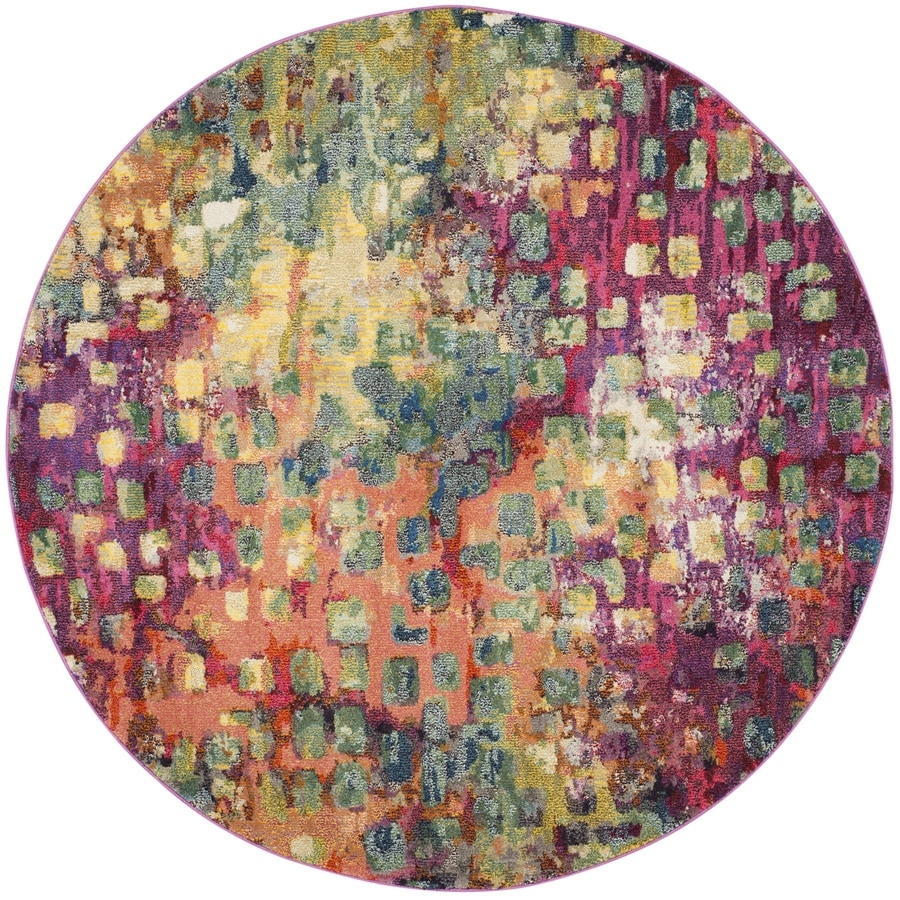 Safavieh Monaco Gogh Round Indoor Distressed Area Rug (Common: 7 x 7; Actual: 6.7-ft W x 6.6-ft L x 6.6-ft dia)