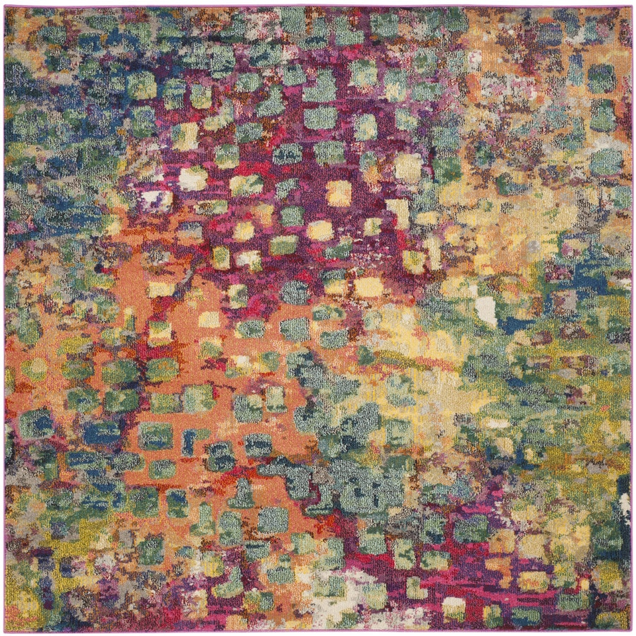 Safavieh Monaco Pink/Multi Square Indoor Machine-Made Distressed Area Rug (Common: 6 x 6; Actual: 6.583-ft W x 6.583-ft L)