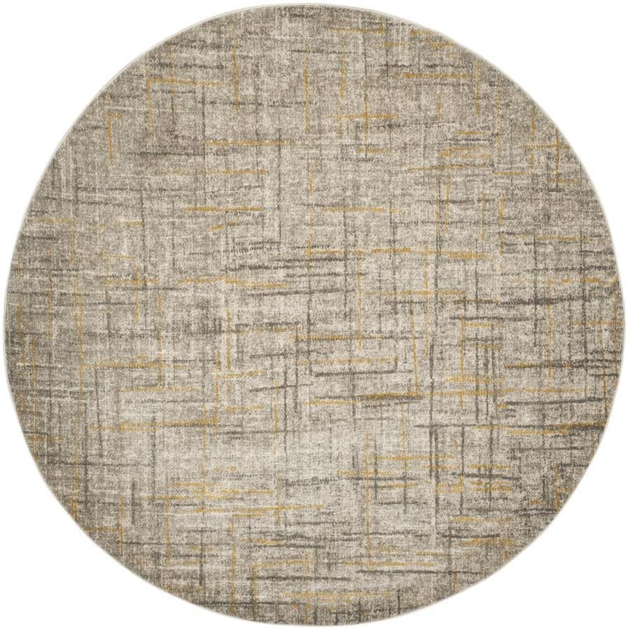 Safavieh Porcello Olivya Gray/Dark Gray Round Indoor Distressed Area Rug (Common: 7 x 7; Actual: 6.7-ft W x 6.6-ft L x 6.6-ft dia)