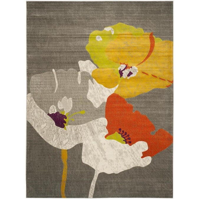 Safavieh Porcello Poppies 9 X 12 Dark Gray Ivory Indoor Floral Botanical Area Rug In The Rugs Department At Lowes Com