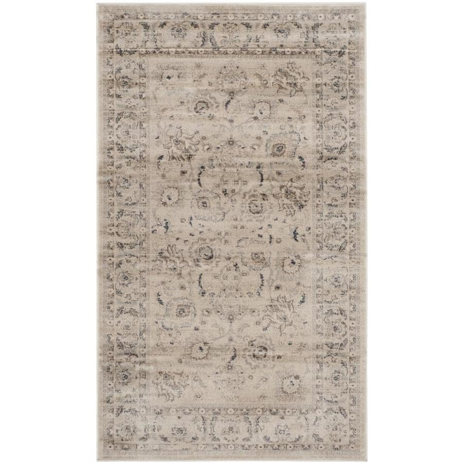 Safavieh Vintage Tabriz Light Gray/Ivory Indoor Distressed Throw Rug (Common: 3 x 5; Actual: 3-ft W x 5-ft L)