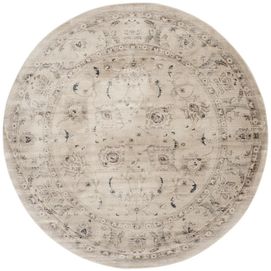 Safavieh Vintage Tabriz Light Gray/Ivory Round Indoor Distressed Area Rug (Common: 7 x 7; Actual: 6.7-ft W x 6.6-ft L x 6.6-ft dia)