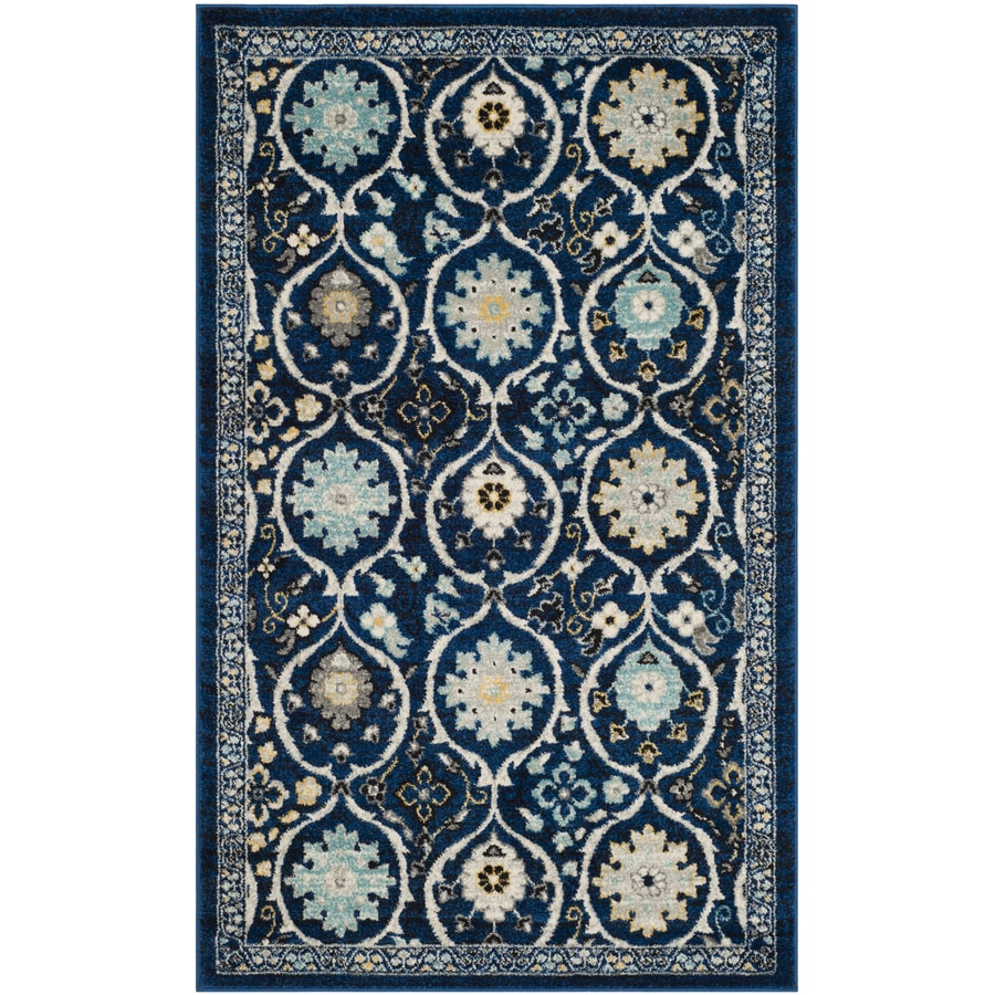 Safavieh Evoke Baxter Royal Blue/Ivory Indoor Oriental Throw Rug (Common: 3 x 5; Actual: 3-ft W x 5-ft L)