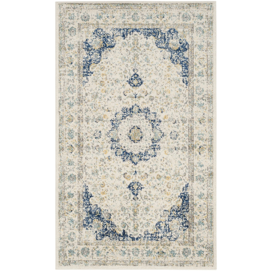 Safavieh Evoke Savoy Ivory/Blue Rectangular Indoor Machine-Made Oriental Throw Rug (Common: 3 x 5; Actual: 3-ft W x 5-ft L)