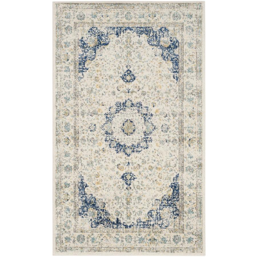 Safavieh Evoke Savoy Ivory/Blue Rectangular Indoor  Oriental Area Rug (Common: 4 x 6; Actual: 4-ft W x 6-ft L)