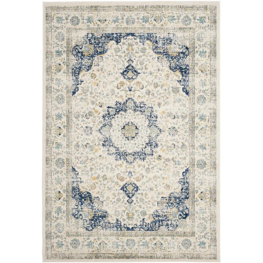 Safavieh Evoke Savoy Ivory/Blue Indoor Oriental Area Rug (Common: 5 x 8; Actual: 5.1-ft W x 7.5-ft L)