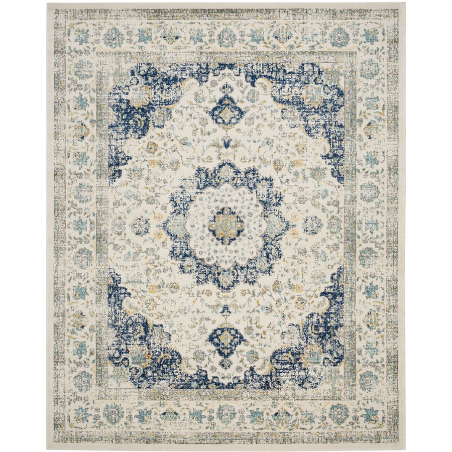 Safavieh Evoke Savoy Ivory/Blue Rectangular Indoor Machine-Made Oriental Area Rug (Common: 8 x 10; Actual: 8-ft W x 10-ft L)