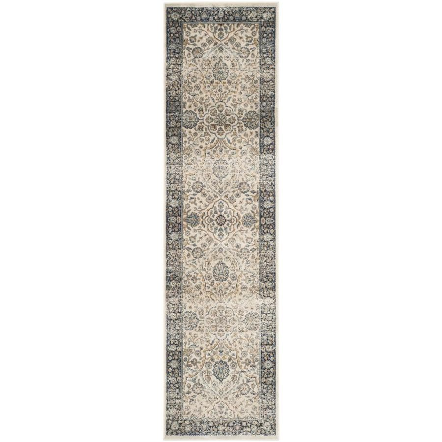 Safavieh Persian Garden Vintage Lazurus Ivory/Navy Indoor Oriental Runner (Common: 2 x 8; Actual: 2.2-ft W x 8-ft L)