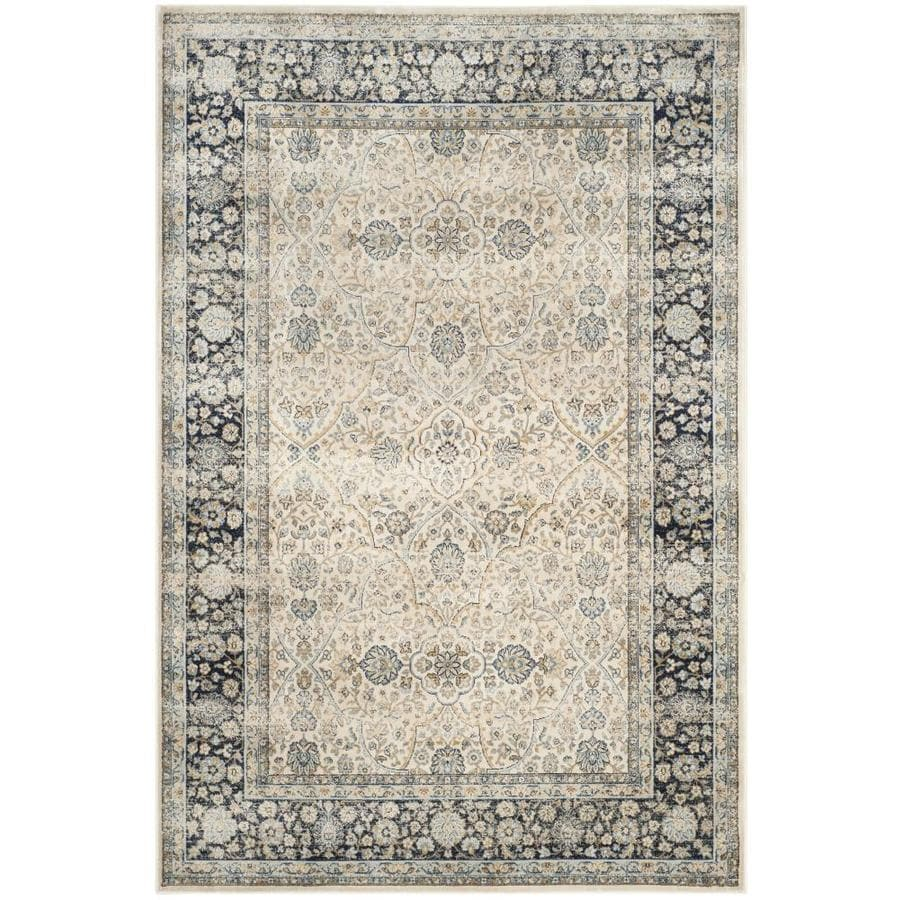 Safavieh Persian Garden Vintage Ivory/Navy Rectangular Indoor Machine-Made Oriental Area Rug (Common: 5 x 7; Actual: 5.0833-ft W x 7.5833-ft L x 0-ft Dia)