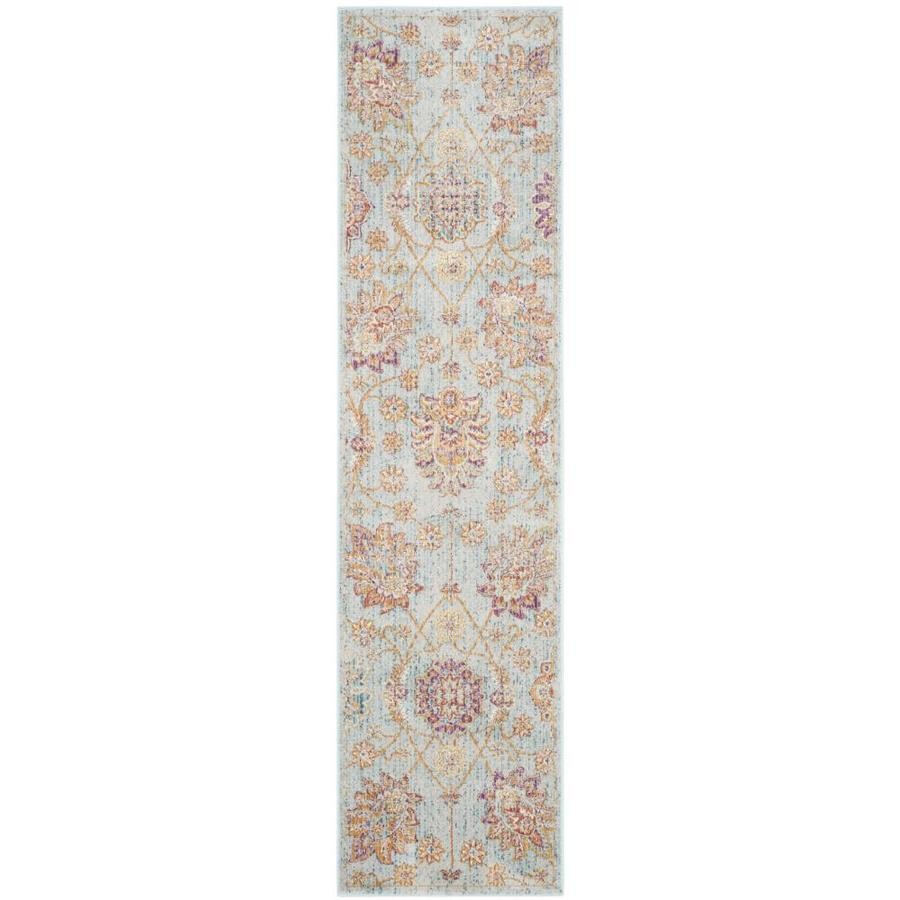 Safavieh Sevilla Grotto Light Blue/Multi Rectangular Indoor Machine-made Distressed Runner (Common: 2 X 8; Actual: 2.1-ft W x 8-ft L)