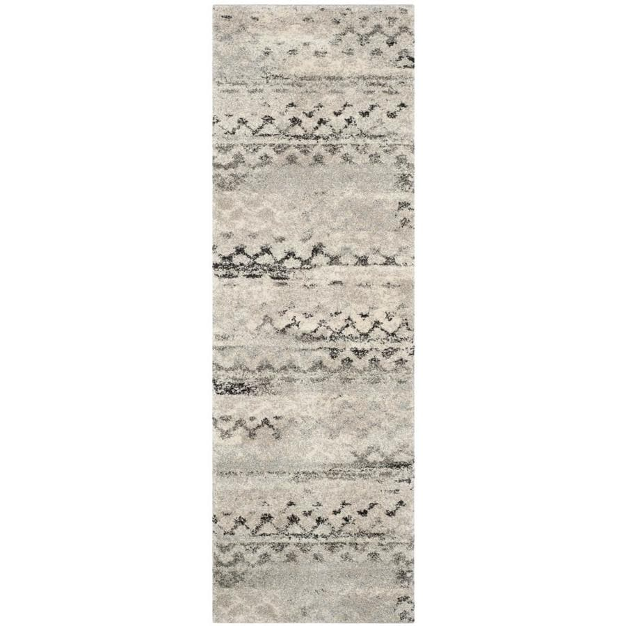 Safavieh Retro Tucson Cream/Gray Rectangular Indoor Machine-made Moroccan Runner (Common: 2 x 11; Actual: 2.25-ft W x 11-ft L)
