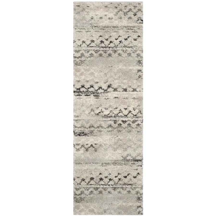 Safavieh Retro Tucson Cream/Gray Rectangular Indoor Machine-made Moroccan Runner (Common: 2 x 7; Actual: 2.25-ft W x 7-ft L)