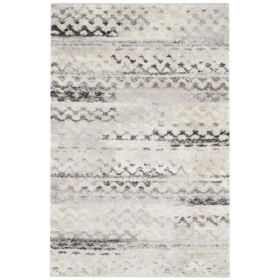 Safavieh Retro Tucson Cream/Gray Indoor Moroccan Area Rug (Common: 4 x 6; Actual: 4-ft W x 6-ft L)