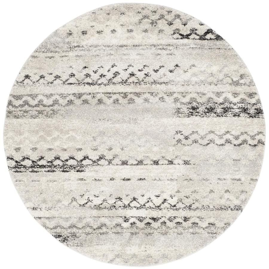 Safavieh Retro Tucson Cream/Gray Round Indoor Machine-made Moroccan Area Rug (Common: 6 x 6; Actual: 6-ft W x 6-ft L x 6-ft Dia)