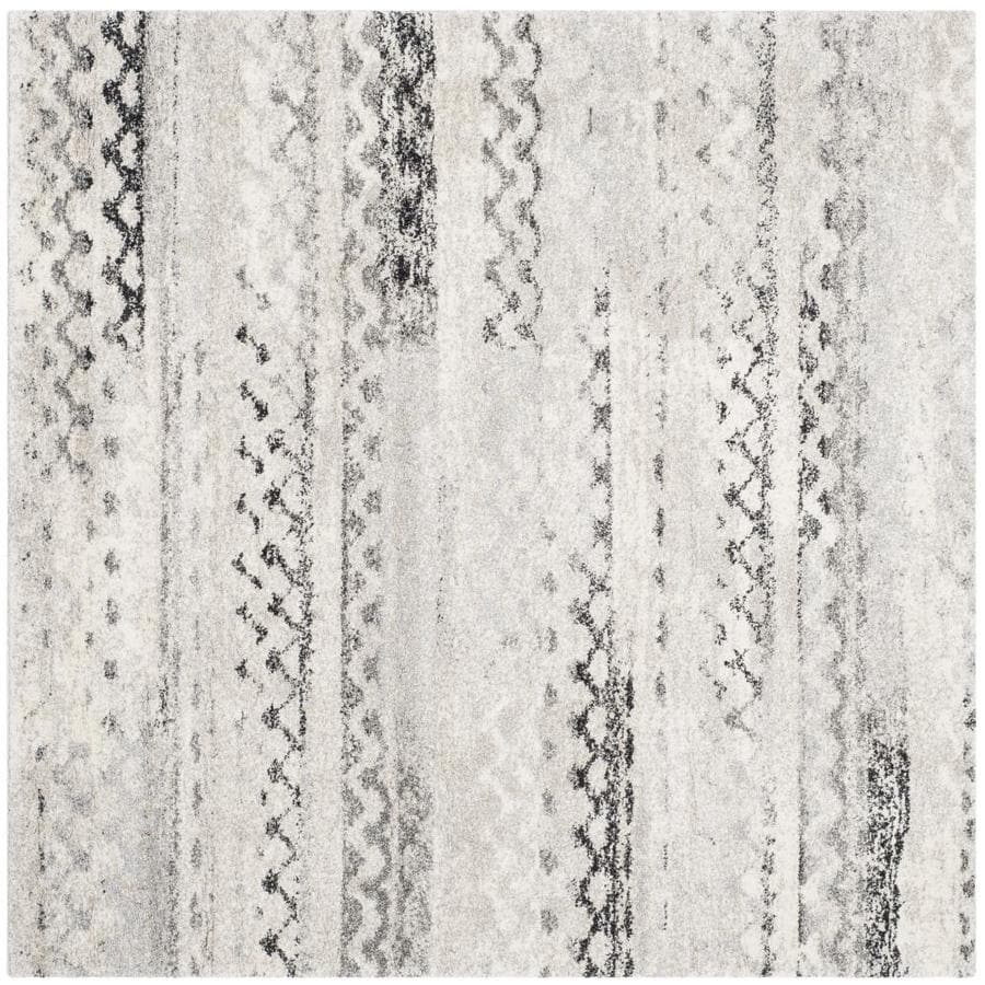 Safavieh Retro Tucson Cream/Gray Square Indoor Machine-made Moroccan Area Rug (Common: 6 x 6; Actual: 6-ft W x 6-ft L)