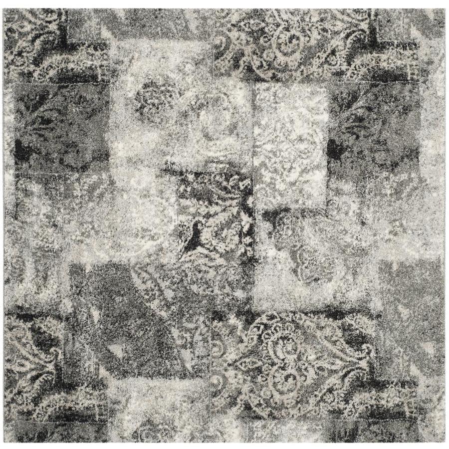 Safavieh Retro Paseo Cream/Gray Square Indoor Distressed Area Rug (Common: 6 x 6; Actual: 6-ft W x 6-ft L)