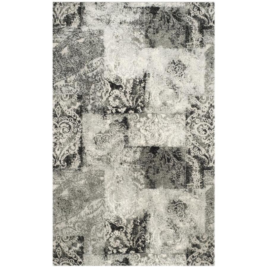 Safavieh Retro Paseo Cream/Gray Rectangular Indoor Machine-made Distressed Area Rug (Common: 8 x 10; Actual: 8-ft W x 10-ft L)