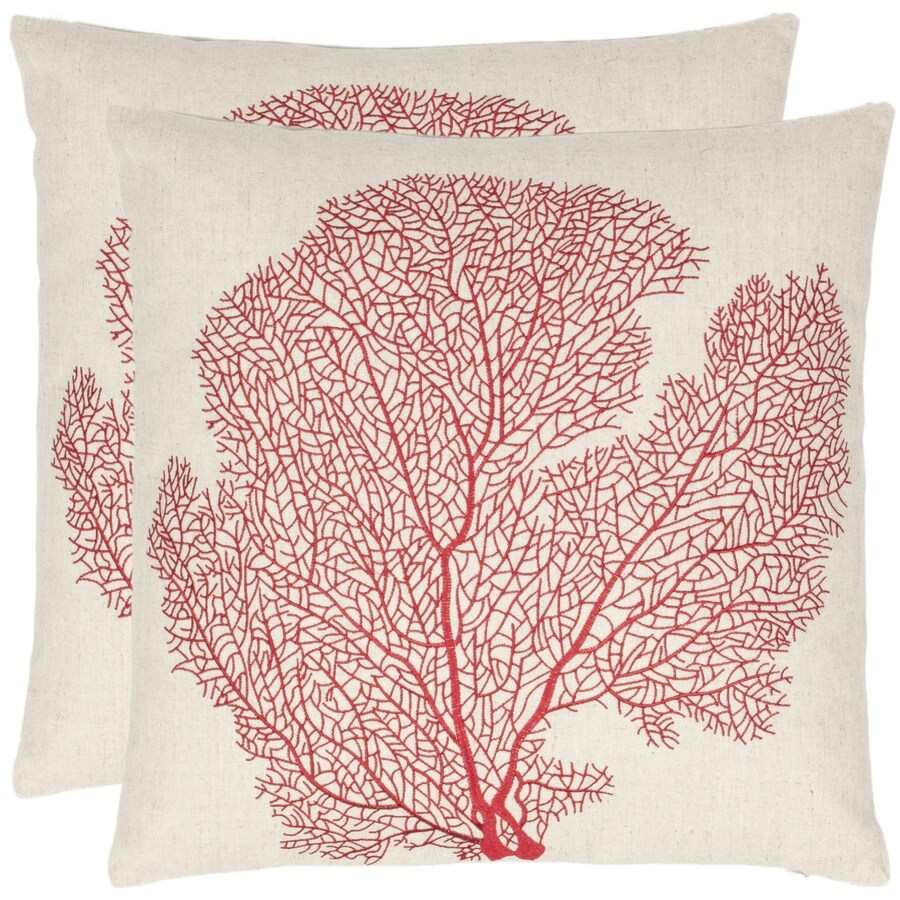 Safavieh Spice-Fan Coral 2-Piece 22-in W x 22-in L Beach Red Indoor Decorative Pillow