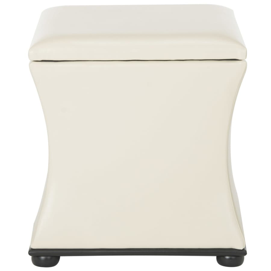 Safavieh Maddox Casual White Faux Leather Storage Ottoman
