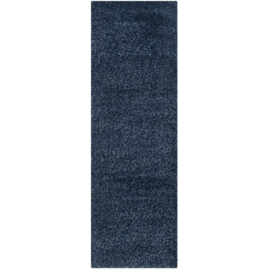 Safavieh California Shag Navy Rectangular Indoor Machine-Made Runner (Common: 2.3 x 13; Actual: 2.25-ft W x 13-ft L)
