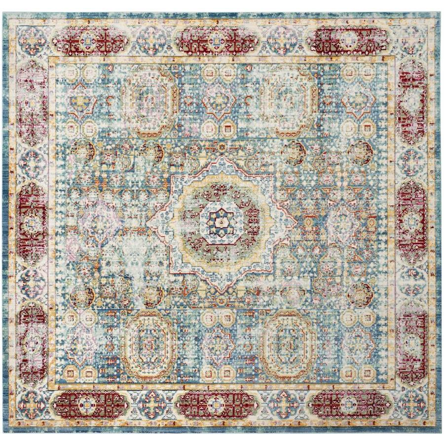 Safavieh Valencia Candence Blue/Multi Square Indoor Machine-made Distressed Area Rug (Common: 7 x 7; Actual: 6.6-ft W x 6.6-ft)