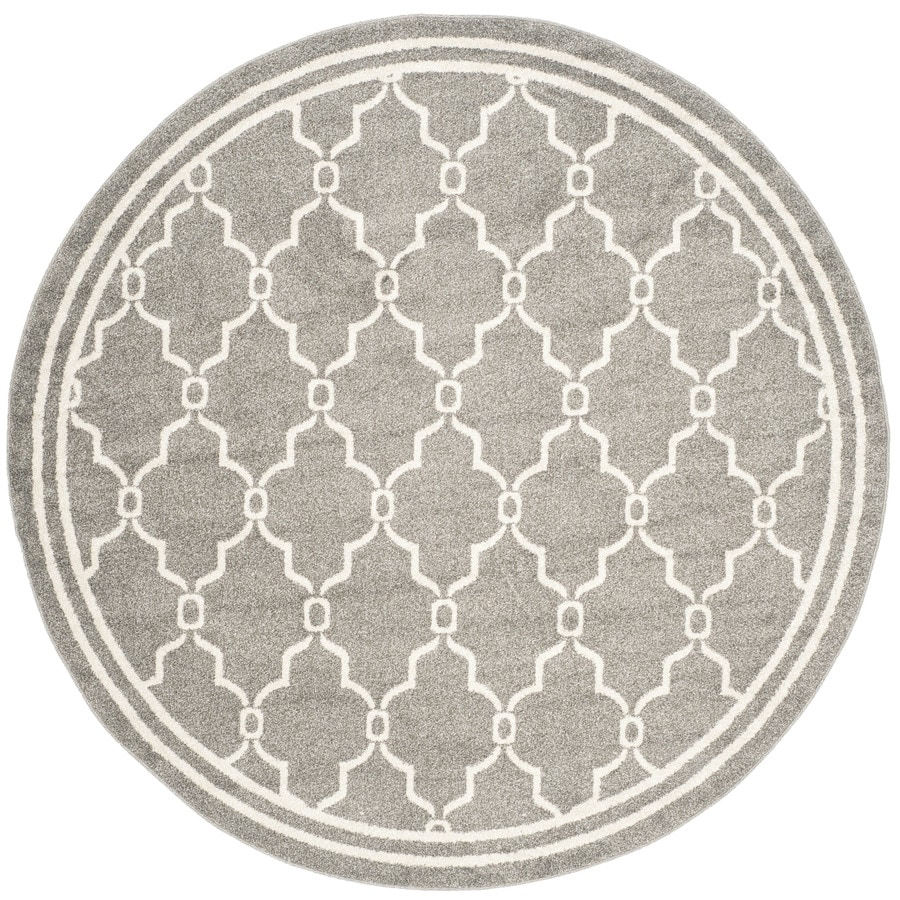 Safavieh Amherst Marion Dark Gray/Beige Round Indoor/Outdoor Machine-Made Moroccan Area Rug (Common: 5 x 5; Actual: 5-ft W x 5-ft L x 5-ft Dia)