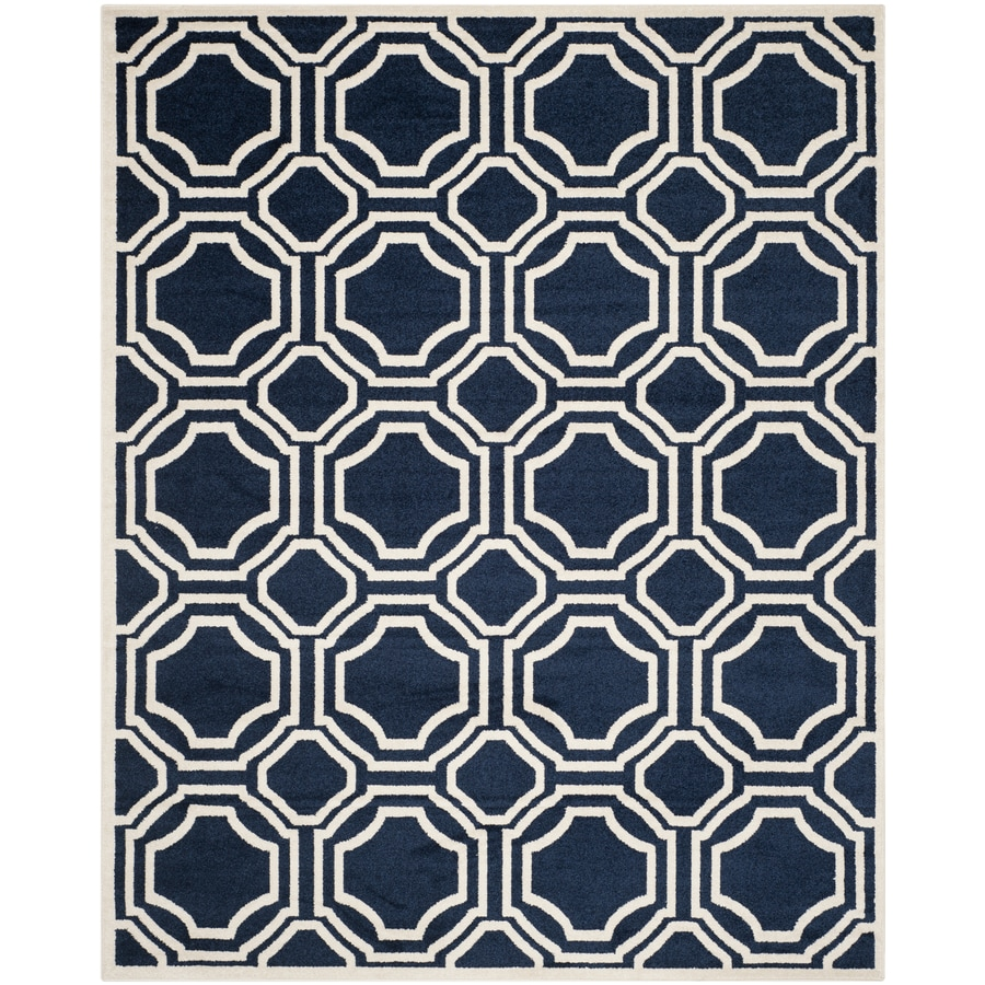 Safavieh Amherst Mosaic Navy/Ivory Rectangular Indoor/Outdoor Machine-made Moroccan Area Rug (Common: 6 x 9; Actual: 6-ft W x 9-ft L)