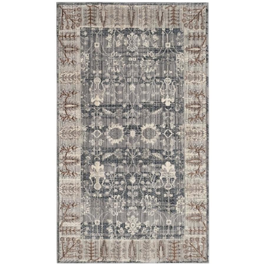 Safavieh Valencia Dawn Dark Gray/Light Gray Indoor Distressed Throw Rug (Common: 3 x 5; Actual: 3-ft W x 5-ft L)