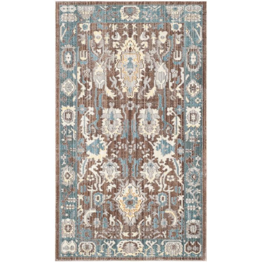 Safavieh Valencia Valere Chocolate/Alpine Indoor Distressed Throw Rug (Common: 3 x 5; Actual: 3-ft W x 5-ft L)