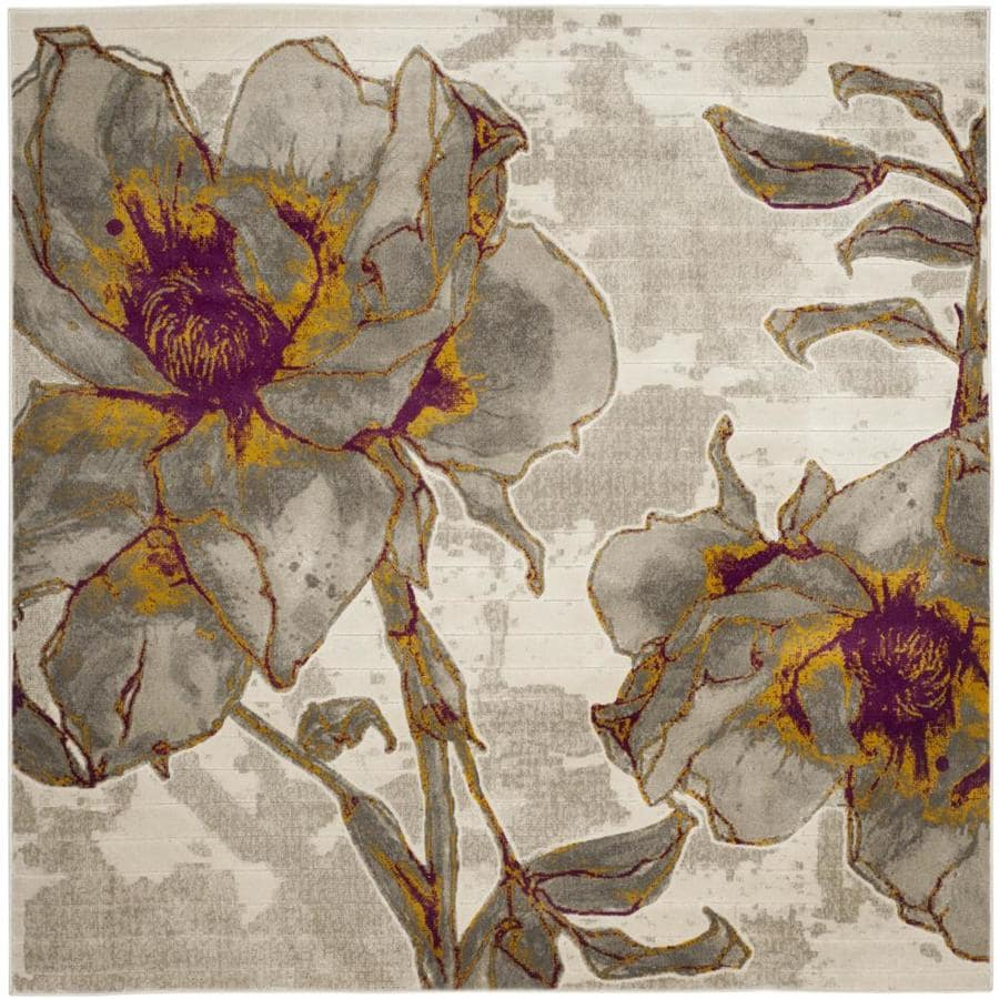 Safavieh Porcello Daphne Ivory/Gray Square Indoor Nature Area Rug (Common: 7 x 7; Actual: 6.7-ft W x 6.6-ft L)