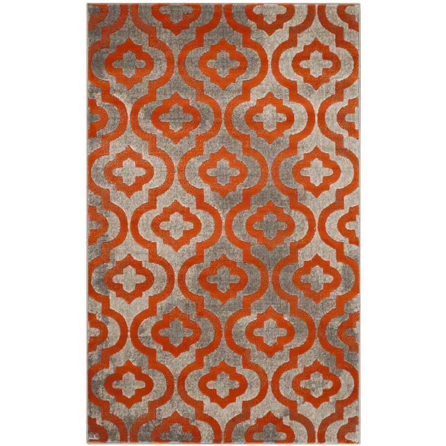 Safavieh Porcello Gray/Orange Rectangular Indoor Machine-Made Throw Rug (Common: 3 x 5; Actual: 3-ft W x 5-ft L)