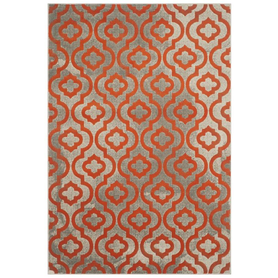 Safavieh Porcello Winfred Gray/Orange Rectangular Indoor Machine-made Moroccan Area Rug (Common: 4 x 6; Actual: 4.083-ft W x 6-ft L)