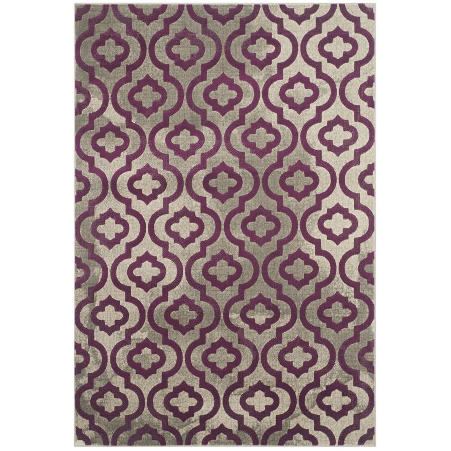 Safavieh Porcello Gray/Purple Rectangular Indoor Machine-Made Moroccan Area Rug (Common: 4 x 6; Actual: 4.083-ft W x 6-ft L)