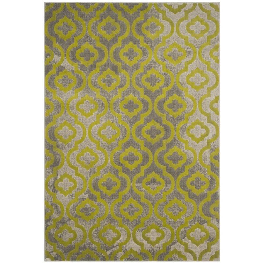Safavieh Porcello Winfred Gray/Green Rectangular Indoor Machine-made Moroccan Area Rug (Common: 5 x 7; Actual: 5.167-ft W x 7.5-ft L)