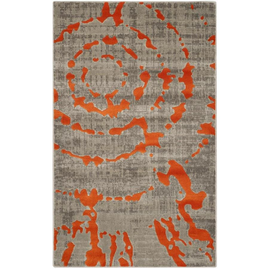 Safavieh Porcello Christa Gray/Orange Rectangular Indoor Machine-made Distressed Throw Rug (Common: 3 x 5; Actual: 3-ft W x 5-ft L)