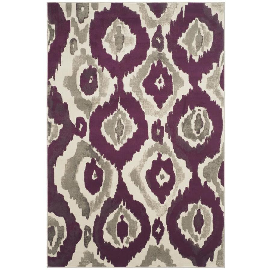 Safavieh Porcello Halle Ivory/Purple Indoor Distressed Area Rug (Common: 5 x 8; Actual: 5.2-ft W x 7.5-ft L)