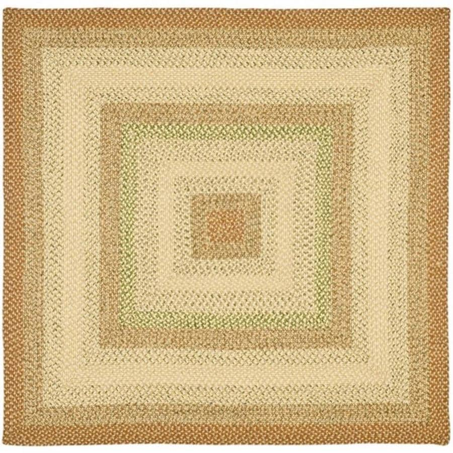 Safavieh Braided Ipswich Rust/Multi Square Indoor Handcrafted Coastal Area Rug (Common: 4 x 4; Actual: 4-ft W x 4-ft L)