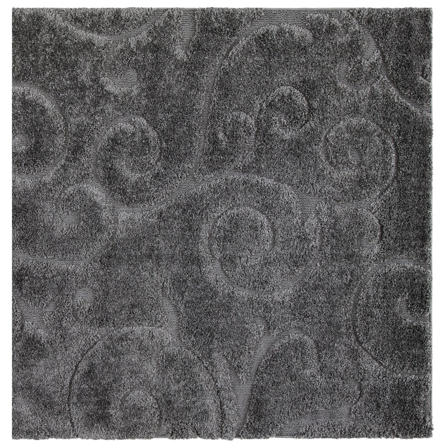Safavieh Florida Scroll Shag Gray Square Indoor Machine-made Tropical Area Rug (Common: 4 x 4; Actual: 4-ft W x 4-ft L)