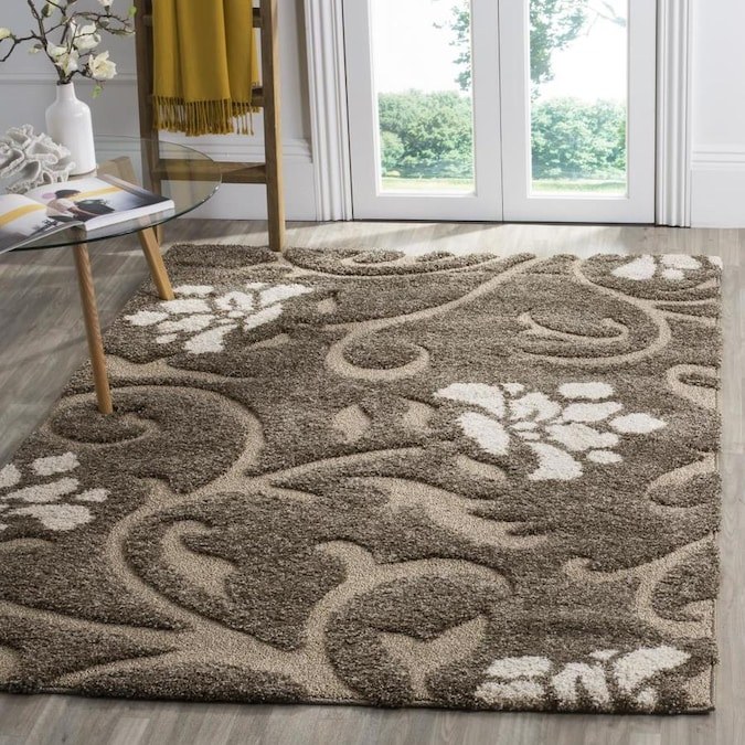 Safavieh Florida Aero Shag 4 X 4 Smoke Beige Square Indoor Floral Botanical Farmhouse Cottage Area Rug In The Rugs Department At Lowes Com