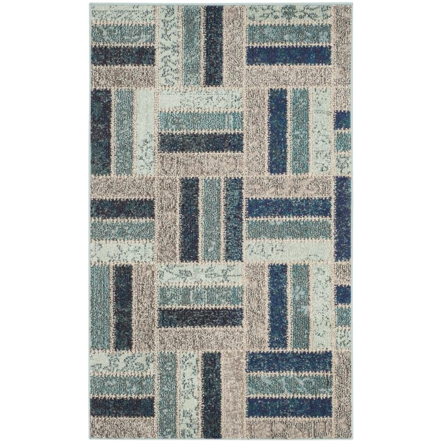 Safavieh Monaco Dobby Gray Blue Indoor Throw Rug Common 3 X 5