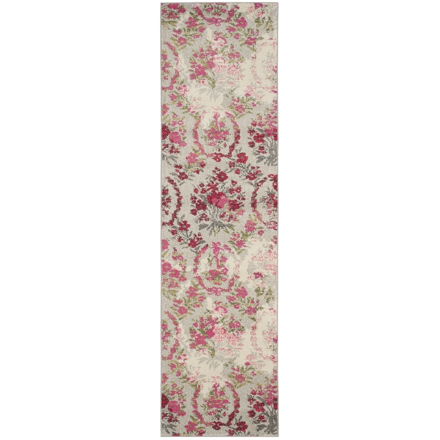 Safavieh Monaco Decatur Ivory/Pink Indoor Nature Runner (Common: 2 x 8; Actual: 2.2-ft W x 8-ft L)