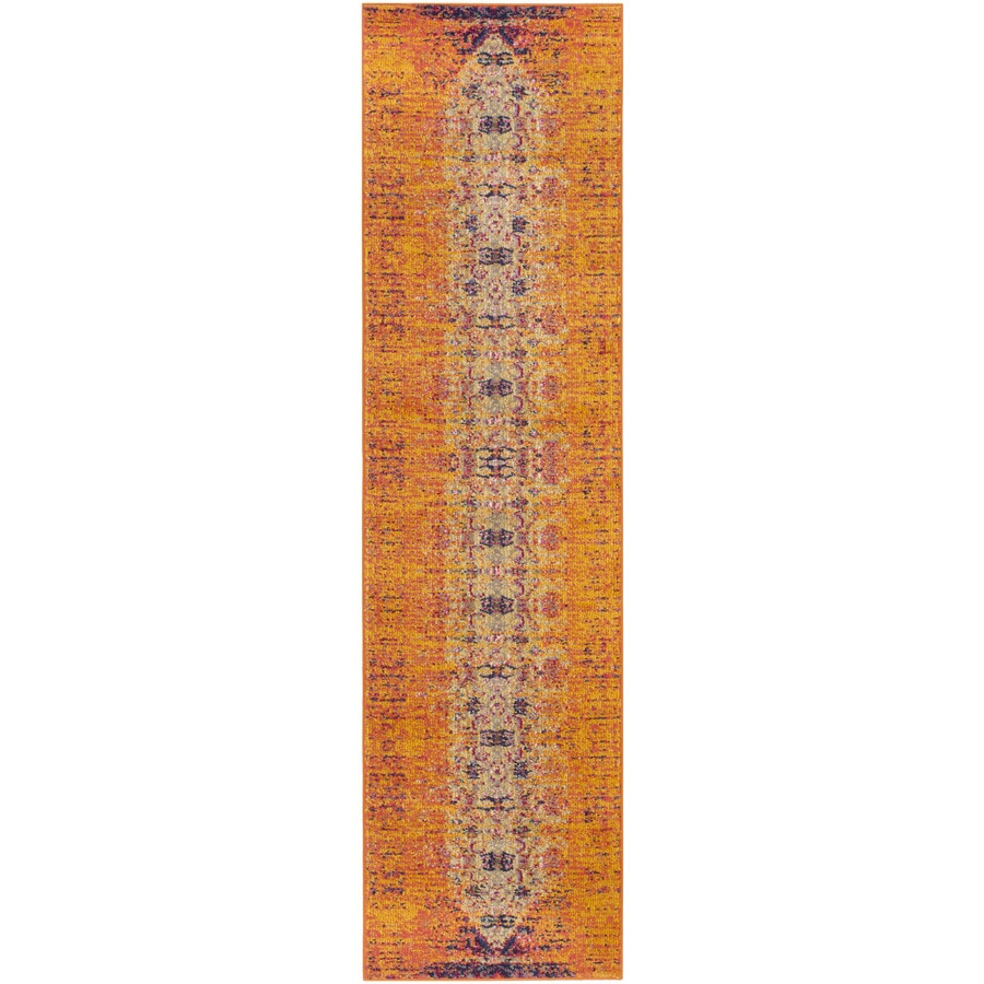 Safavieh Monaco Orange/Multi Rectangular Indoor Machine-Made Distressed Runner (Common: 2 x 10; Actual: 2.167-ft W x 10-ft L)