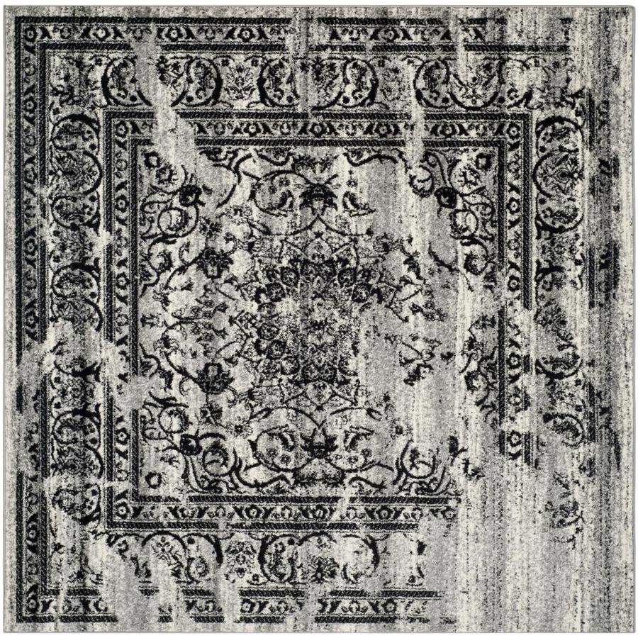 Safavieh Adirondack Plaza Silver/Black Square Indoor Machine-made Lodge Area Rug (Common: 10 x 10; Actual: 10-ft W x 10-ft L)