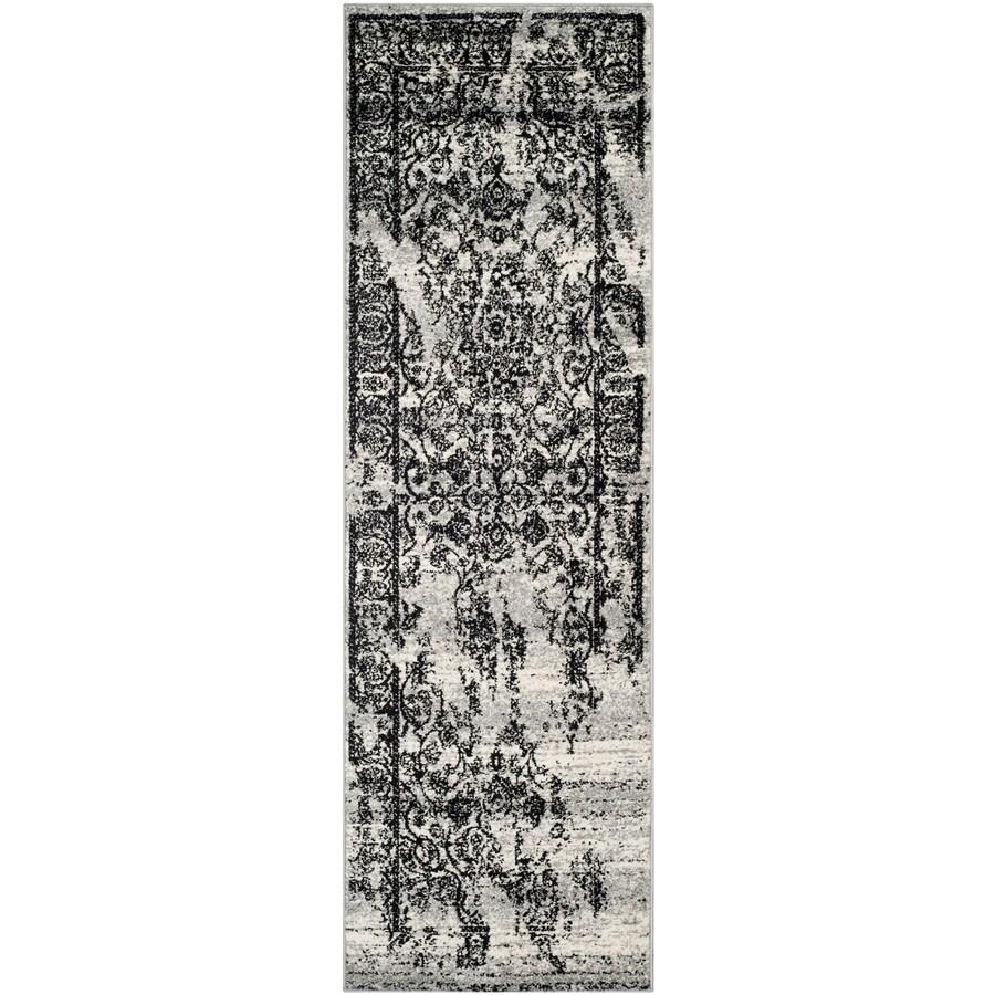 Safavieh Adirondack Plaza Silver/Black Indoor Lodge Runner (Common: 2 x 20; Actual: 2.5-ft W x 20-ft L)
