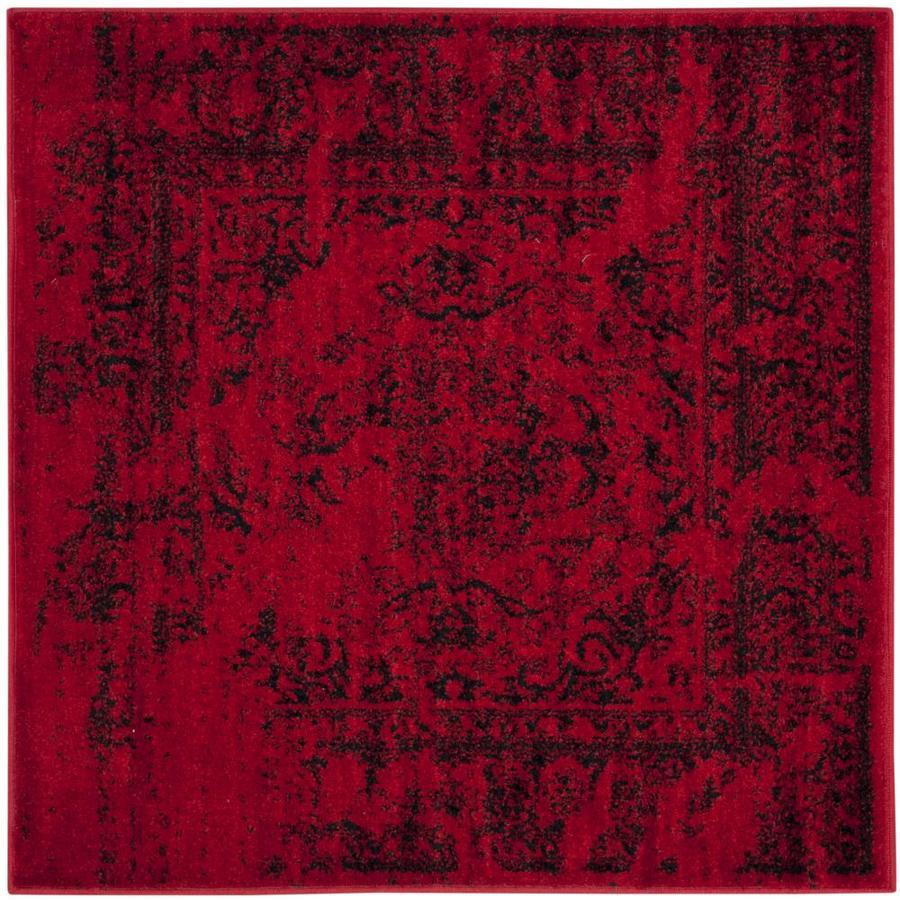 Safavieh Adirondack Red/Black Square Indoor Machine-Made Lodge Area Rug (Common: 3.6 x 3.6; Actual: 4-ft W x 4-ft L)