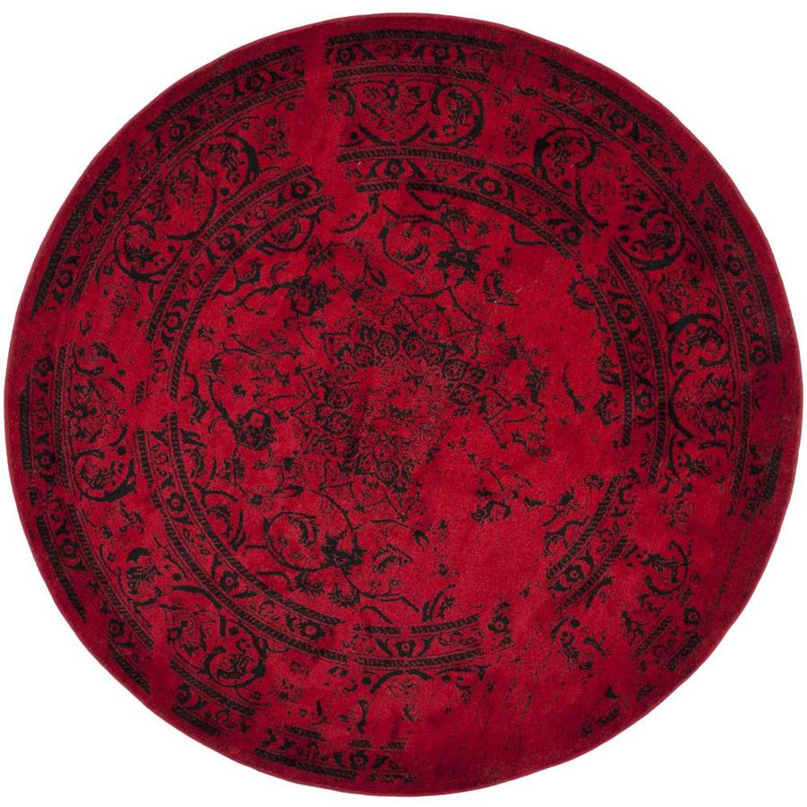 Safavieh Adirondack Plaza Red/Black Round Indoor Lodge Area Rug (Common: 8 x 8; Actual: 8-ft W x 8-ft L x 8-ft dia)