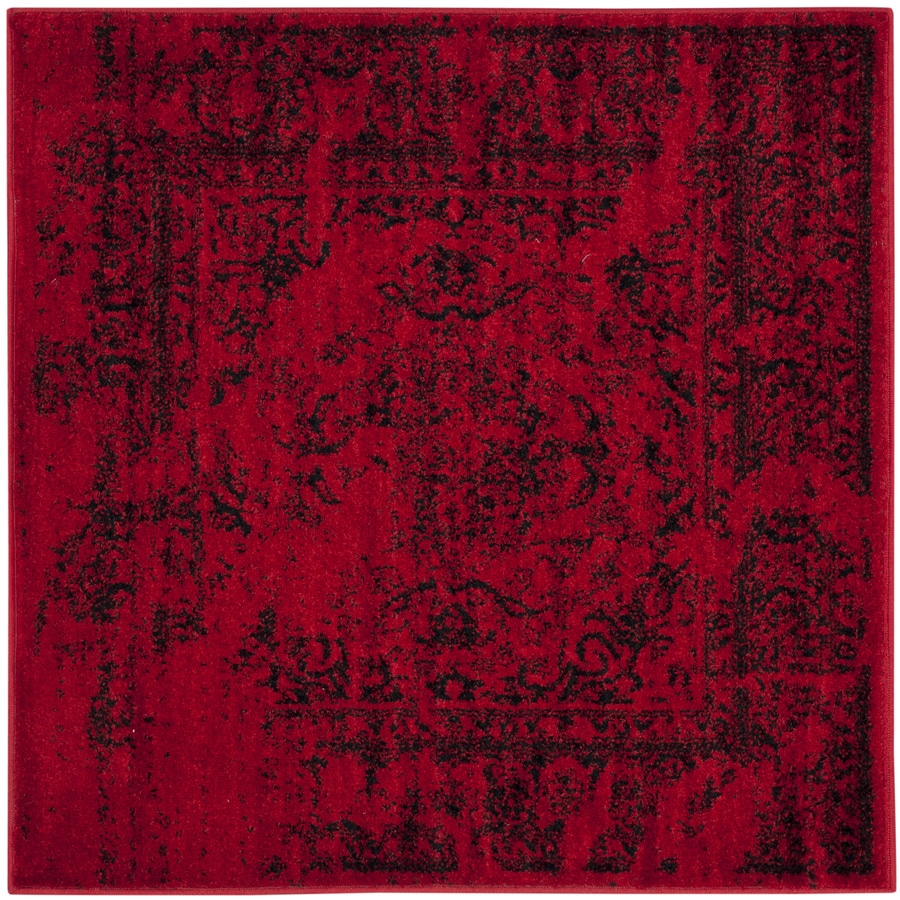 Safavieh Adirondack Red/Black Square Indoor Machine-Made Lodge Area Rug (Common: 7.10 x 7.10; Actual: 8-ft W x 8-ft L)
