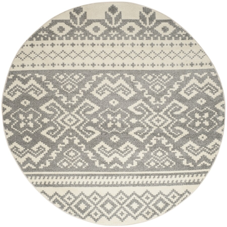 Safavieh Adirondack Ivory/Silver Round Indoor Machine-Made Area Rug (Common: 10 x 10; Actual: 10-ft dia)
