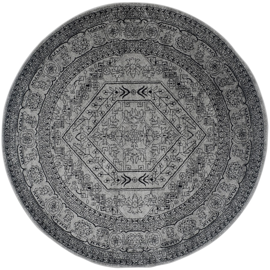 Safavieh Adirondack Herati Silver/Black Round Indoor Machine-made Lodge Area Rug (Common: 10 x 10; Actual: 10-ft W x 10-ft L x 10-ft Dia)